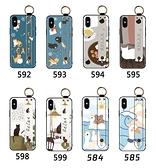 iPhone XS MAX X XR 手機殼 保護殼 腕帶支架防摔 全包邊外殼 手機套 保護套 浮雕軟殼 卡通可愛 iX
