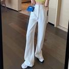 西裝褲 白色闊腿褲女高腰垂感拖地直筒韓版...