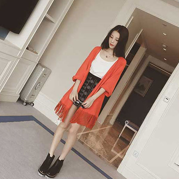 春秋新款 修身時尚流蘇無扣拼接長袖針織開衫外套   [黑 橘紅] 兩色售
