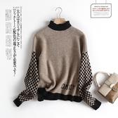 格紋袖拼接針織上衣針織衫毛衣日系【55-24-860330-19】ibella 艾貝拉