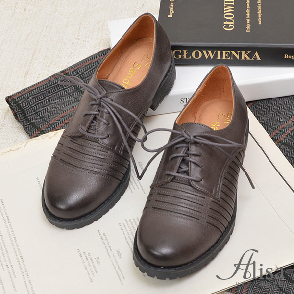專櫃女鞋 車線綁帶刷色紳士鞋-艾莉莎Alisa【3075727】灰色下單區
