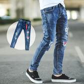 長褲 刷破文字補丁造型鐵牌牛仔褲【NB0267J】