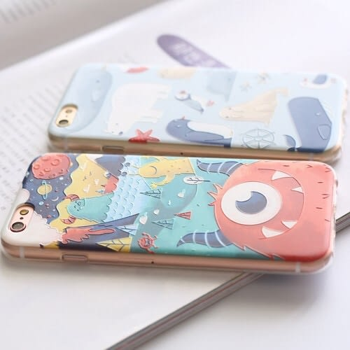 iPhoneX手機殼 可掛繩 眼紅魔怪&北極動物園 浮雕軟殼 蘋果iPhone8X/iPhone7/i6/5s