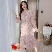 洋裝連身裙甜美S-2XL新款洋氣雪紡長袖碎花打長款打底裙T613-1102.胖胖唯依