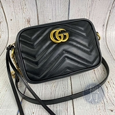 BRAND楓月 GUCCI 古馳 448065 經典 黑色 皮革 金LOGO MARMONT MINI 相機包 側背包