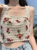 2019夏季新款韓版刺繡吊帶上衣性感顯瘦露臍針織背心女外穿