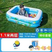 兒童充氣游泳池新生兒小孩戲水洗澡池家用成人浴缸【淘嘟嘟】