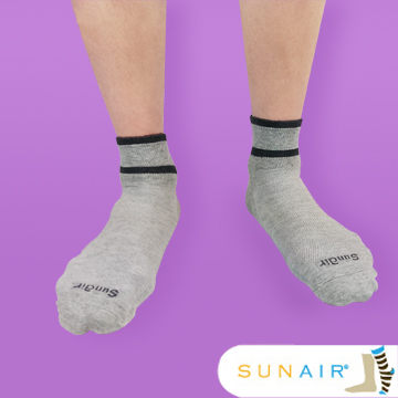 sunair 滅菌除臭襪子-運動薄襪 短筒 (L25~29) (灰+黑) /SA2901