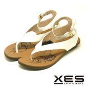 XES 夾腳涼鞋鞋 羅馬風設計 有型好穿 真皮耐穿 舒適皮中墊_白色