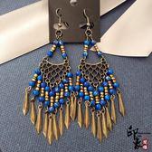 歐美波西米亞復古民族風古銅耳環飾品彩珠女耳飾流蘇長款耳墜【萬聖節推薦】