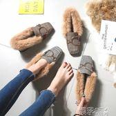 聖誕禮物豆豆鞋秋冬季毛毛鞋女新款外穿帶毛豆豆鞋加絨棉瓢鞋大碼 嬡孕哺