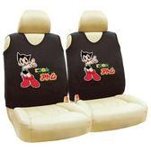 車之嚴選 cars_go 汽車用品【AB-06002-1】原子小金剛 Q版 汽車背心椅套 (2入) 黑色