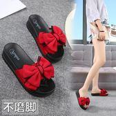 拖鞋女夏外穿平底新款蝴蝶結涼拖鞋厚底防滑沙灘鞋一字拖鞋哦 時尚芭莎