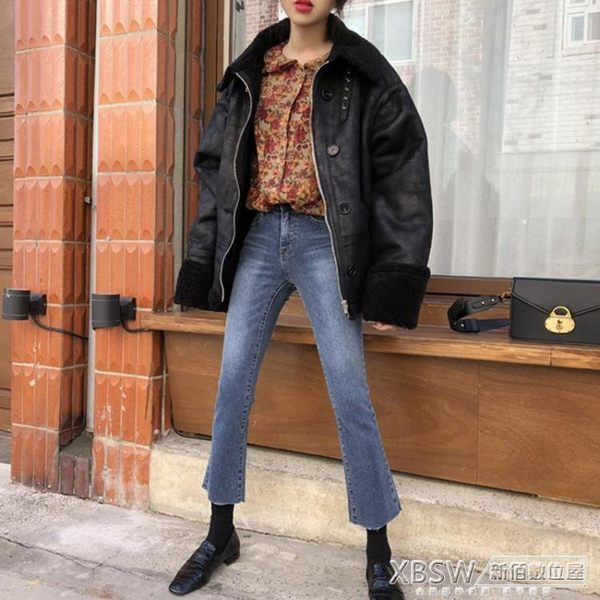 chic微喇叭牛仔褲子女八分小個子2018新款加絨褲女高腰冬季九分褲