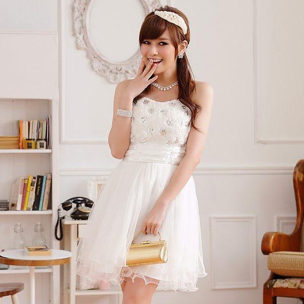 宮廷玫瑰蕾絲網紗收腰抹胸公主小禮服 (附隱形肩帶)‧共3色-美之札