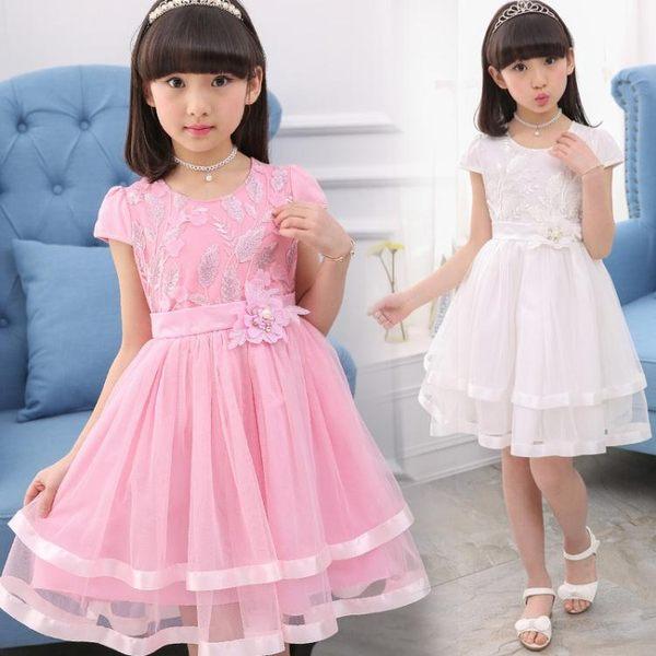 女童洋裝•女童夏季連身裙純棉紗裙兒童白色公主裙子Cc3849『美好時光』