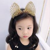 蝴蝶結髮飾兒童大蝴蝶結皇冠發箍女童拍照皇冠頭飾閃亮金絲發飾 嬡孕哺