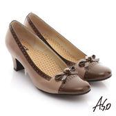 A.S.O 舒活系列 全真皮蝴蝶結奈米中跟鞋 古銅色
