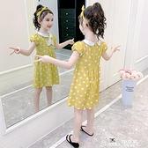 兒童洋裝 女童洋裝夏裝2021新款中大兒童短袖純棉洋氣公主裙女孩棉布裙子