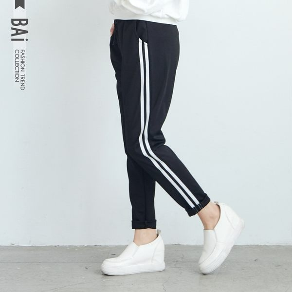 運動褲 側白邊雙線拼接彈性綁帶鬆緊休閒褲-BAi白媽媽【195271】