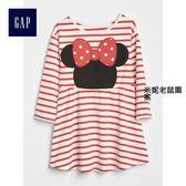 Gap x Disney女嬰幼童 迪士尼系列米妮可愛舒適長袖洋裝 357904-米妮老鼠圖案