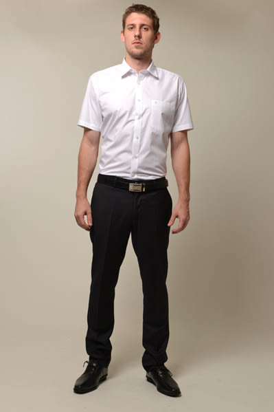 【金‧安德森】白色基本款短袖襯衫