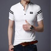 夏季男士短袖t恤修身立領polo衫韓版純棉體恤半袖丅上衣服男裝潮 青山市集