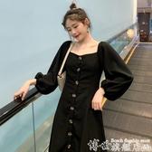 大碼連身裙 胖妹妹大碼秋冬裝2020網紅甜美法式復古收腰顯瘦氣質長袖連身裙女 7月特惠