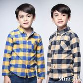 Mini Jule男童 上衣 單邊口袋撞色格子長袖襯衫(共2色)