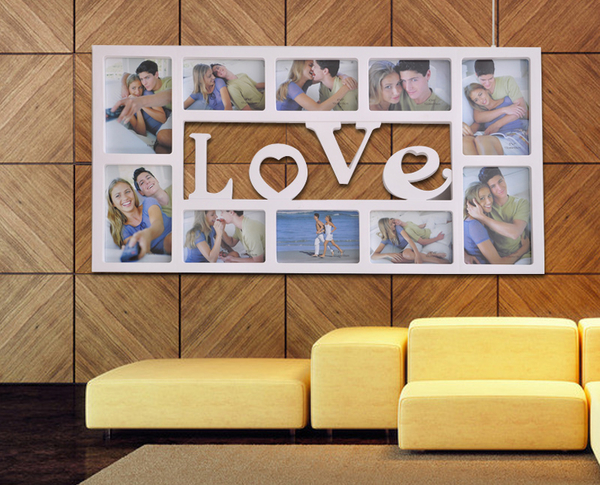 相框 LOVE  大相框 婚紗 婚禮小物 相簿 布置 相片牆 歐式 組合 相本 裝飾 掛鐘 連體 全家框 免運 1157