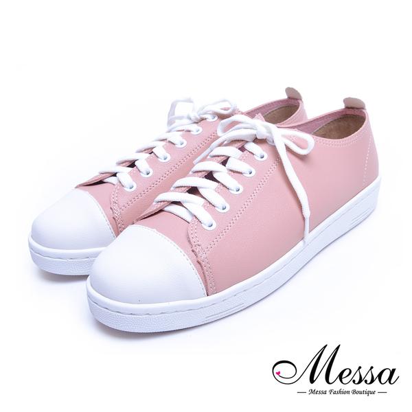 【Messa米莎專櫃女鞋】MIT自然系素色個性百搭內真皮綁帶休閒鞋-粉色