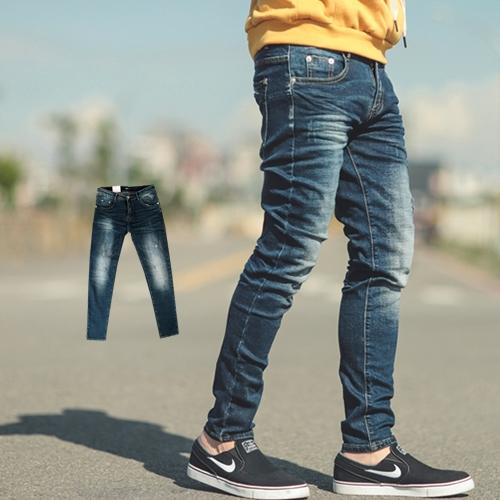 牛仔褲 韓國製立體抓皺刷色合身版牛仔褲【NB0443J】