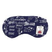 〔小禮堂〕史努比 日製棉質旅行用眼罩《深藍.漫畫圖》居家.旅行 4945571-24599