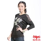 【BOBSON】女款蕾絲蝴蝶長袖上衣(33122-88)