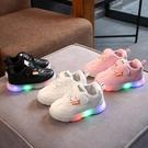 皮面防水兒童帶燈發光運動鞋春秋款寶寶亮燈鞋子男女童會亮的童鞋 喵小姐