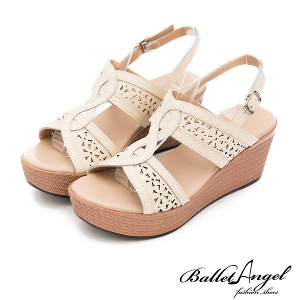 楔型涼鞋 渡假風情雕花真皮楔型涼鞋(米)*BalletAngel【18-762mi】【現貨】