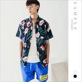 韓國製 短袖襯衫 紅白大花【ST20411】- SAMPLE