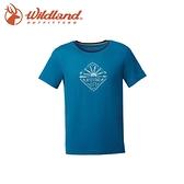 【Wildland 荒野 男 彈性棉感抗UV印花上衣《土耳其藍》】0A61610-46/吸濕排汗/抗UV/短袖