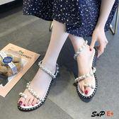 夾腳式涼鞋 夾趾 涼鞋 仙女風 平底
