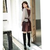 秋裝上市[H2O]PU皮後綁帶設計A字短裙 - 咖色 #0652004