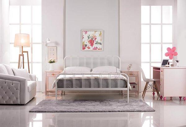 【森可家居】約瑟夫簡約舒適5尺白色鐵床架 7JX81-2 雙人床 北歐鄉村風
