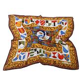 Christian Dior 時尚幾何蘇格蘭格飾邊緞面大領巾(棕邊)179004-1