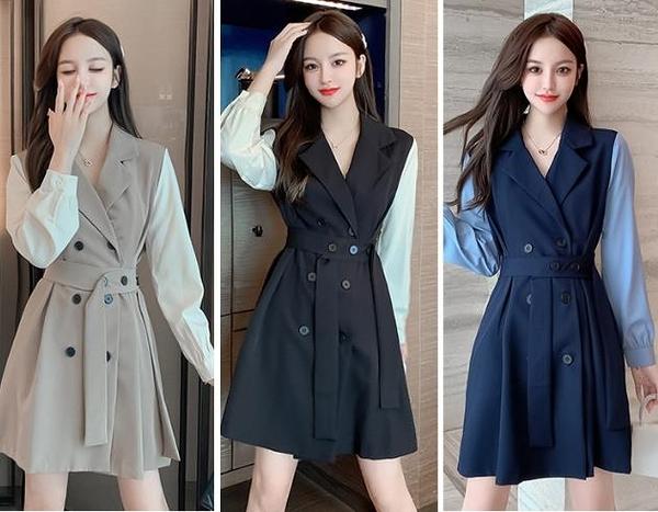 第二件5折 韓系收腰氣質拼接假兩件雙排釦西裝長袖洋裝