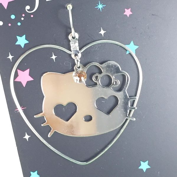 【震撼精品百貨】Hello Kitty 凱蒂貓~造型耳環-大臉愛心造型