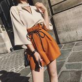 夏季韓版女裝高腰闊腿褲兩件套氣質小香風時尚套裝夏裝潮【韓衣舍】