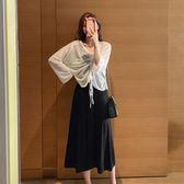 韓版抽褶長袖防曬衫中長款吊帶裙顯瘦兩件套F7414ZLB36紅粉佳人