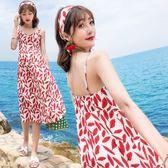 中大尺碼 露背洋裝巴厘島度假風印花露背沙灘裙高腰顯瘦大擺抹胸裙LJ9542『夢幻家居』