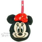 〔小禮堂〕迪士尼 米妮 折疊式擦手巾《黑.大臉》可收納在包裡 4992272-61082