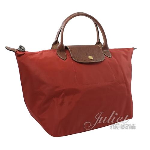 茱麗葉精品【全新現貨】Longchamp Le Pliage 折疊短揹帶肩提包.暗紅 M #1623