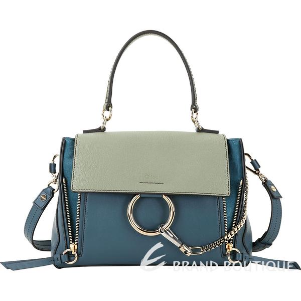CHLOE Faye Day 小款 撞色小牛皮手提肩背兩用包(復古藍綠) 1940111-08